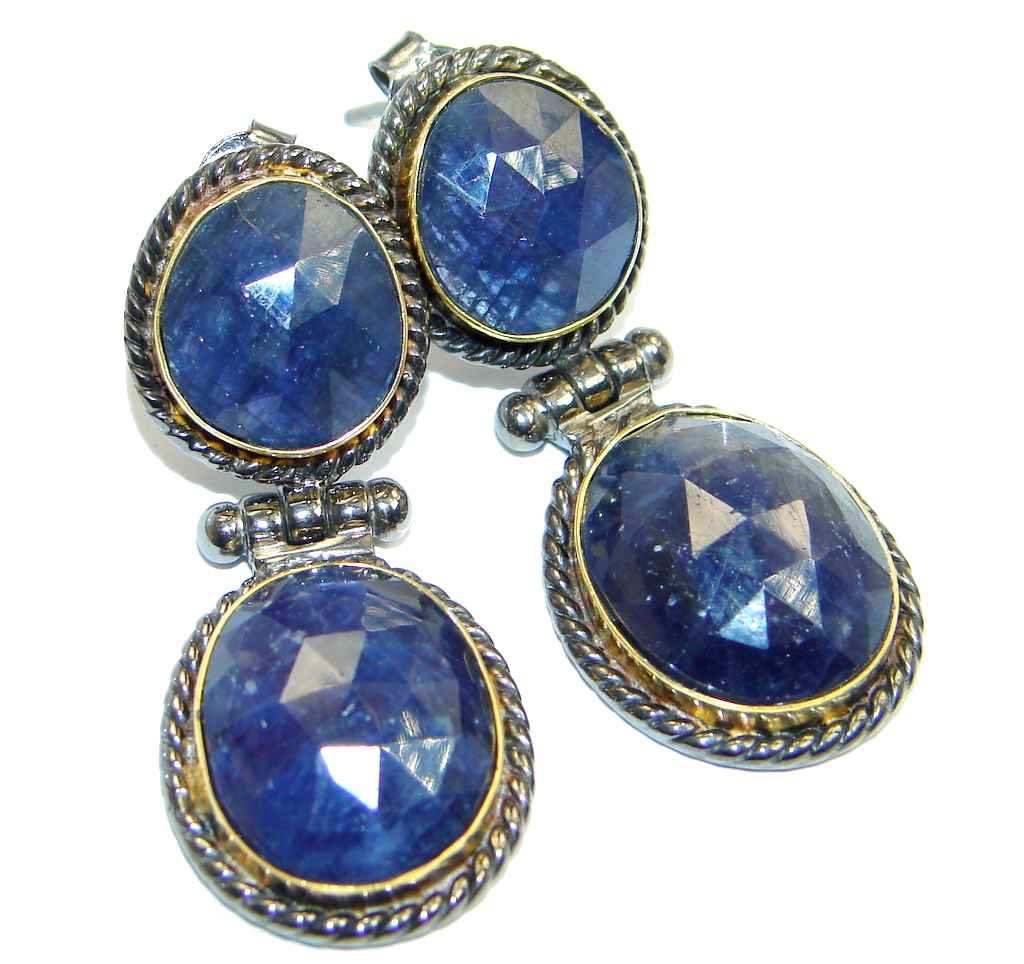 Trendy Fashion Sapphire Two Tones Sterling Silver handmade studs earrings