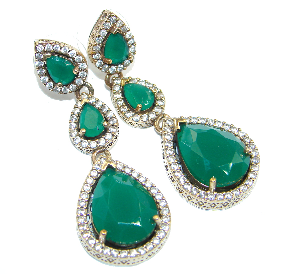 Victorian Style created Green Emerald Sterling Silver earrings