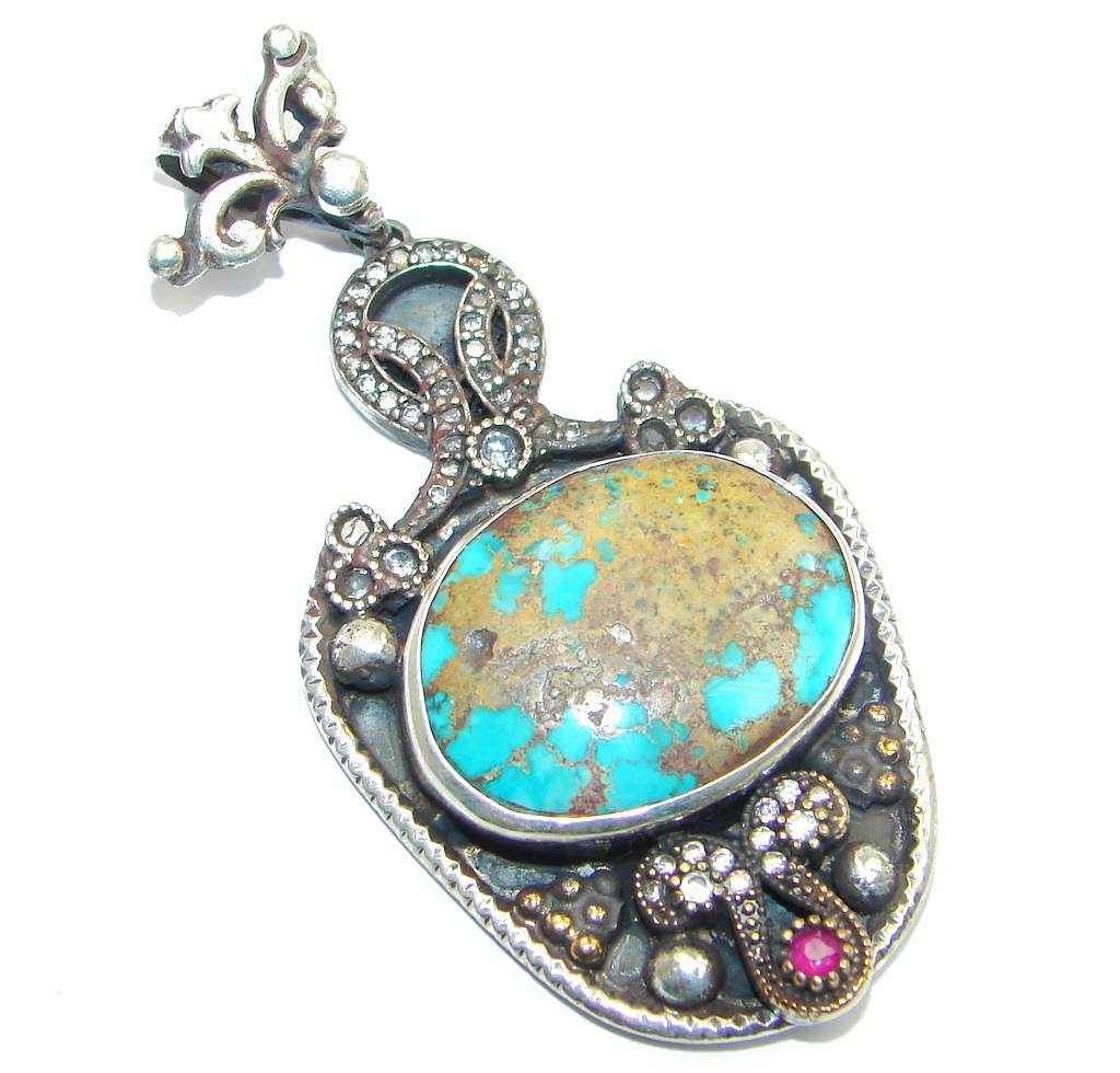 Big! Vintage Style Genuine Turquoise Ruby Sterling Silver Pendant