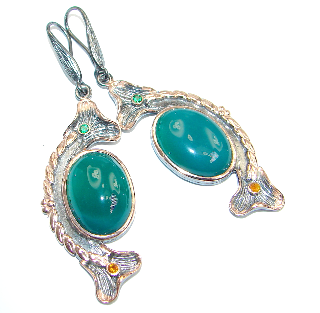 Green Agate Gold Rhodium plated over Sterling Silver handmade  earrings