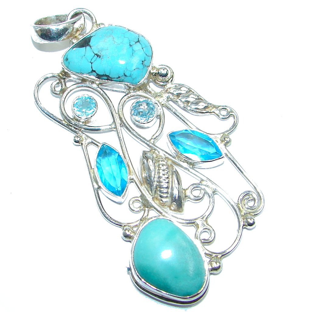 Spider Web Sky Blue Turquoise Sterling Silver handmade Pendant