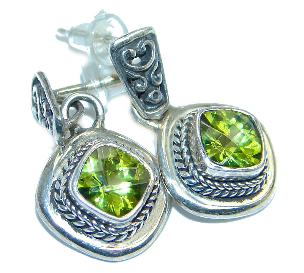 Genuine Peridot Sterling Silver handmade stud Earrings