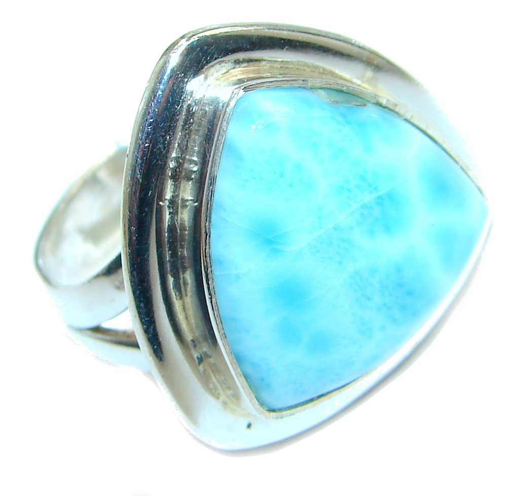 Sublime Genuine  Larimar  Sterling Silver handmade Ring size 6 1/4