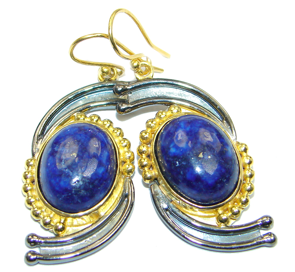 Exclusive genuine Lapis Lazuli Gold plated over Sterling Silver earrings