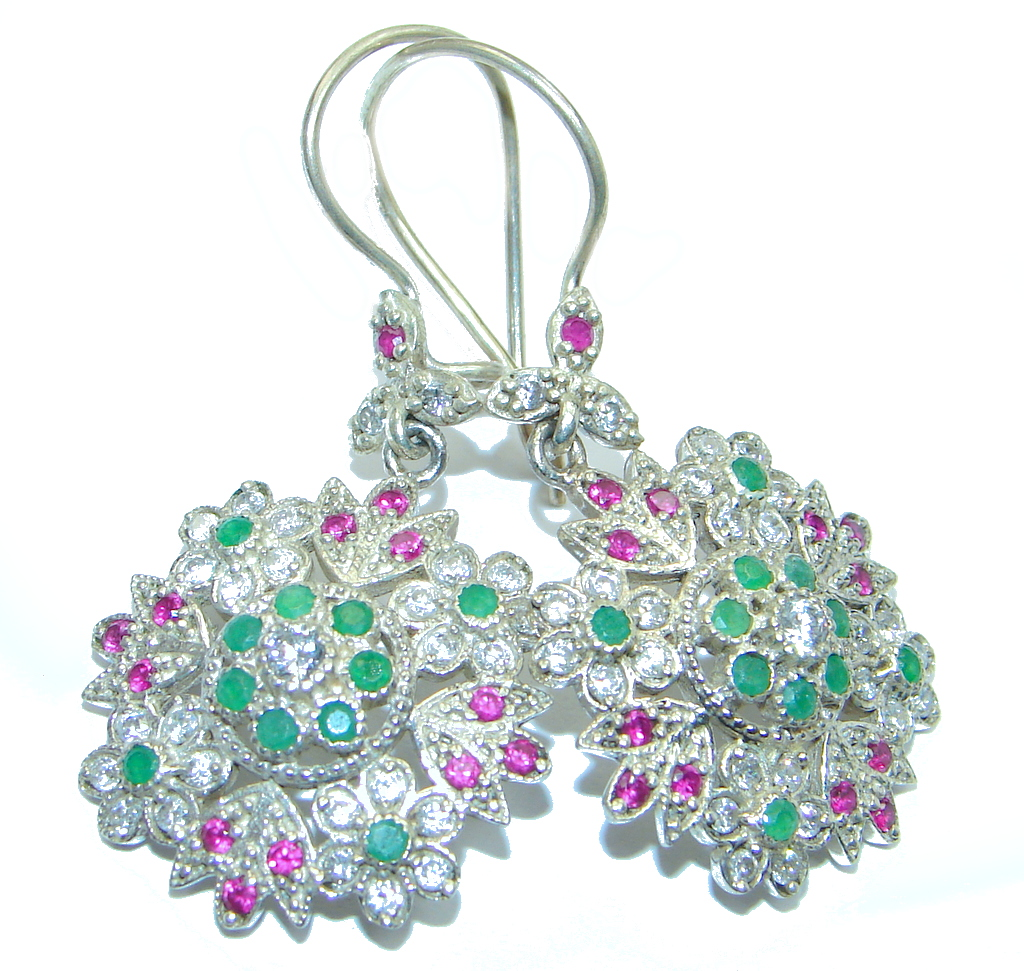 Victorian Style created Emerald Ruby  Sterling Silver earrings