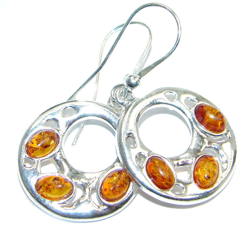 Back to Nature  Baltic Amber Sterling Silver handmade earrings