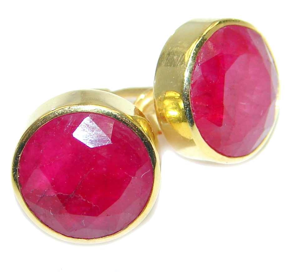 Delicate Pink Ruby Gold Plated Sterling Silver earrings