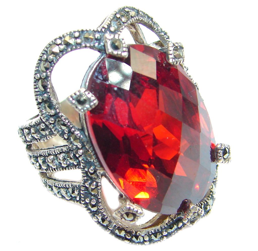 marcassite.com view the photo of  Bold & Great Cubic Zirconia Sterling Silver handcrafted Ring size 6