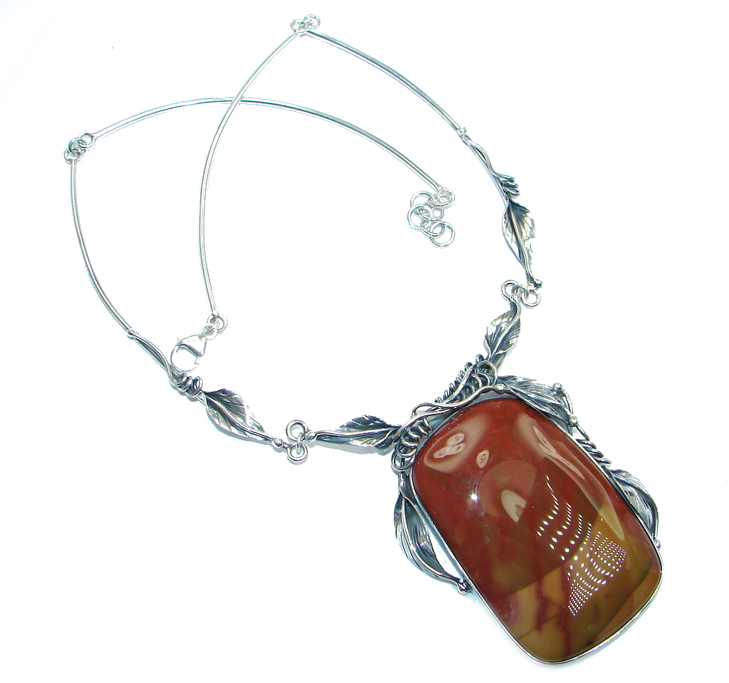 Beautiful Red Creek Jasper Oxidized Sterling Silver handmade Necklace
