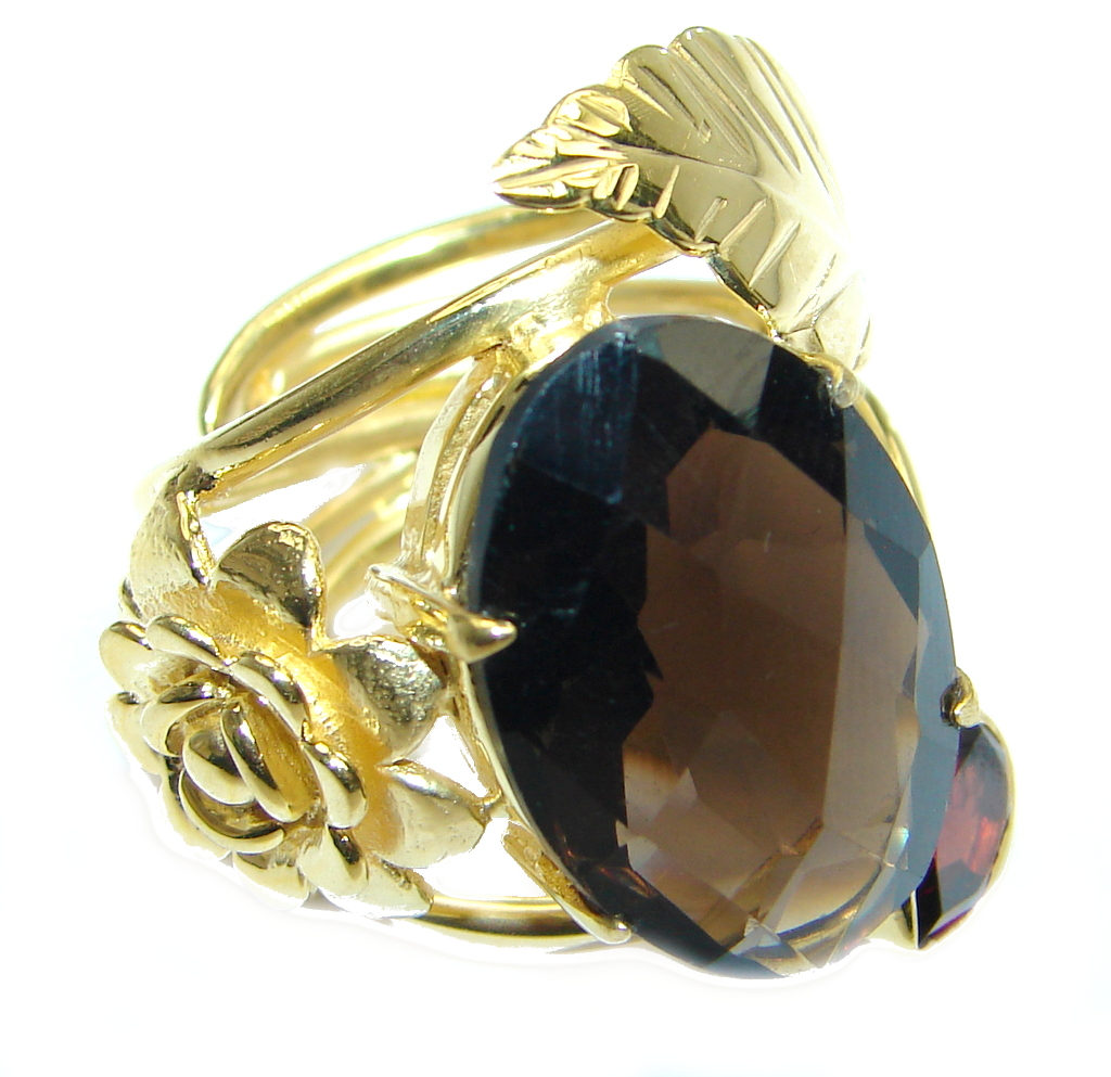 Beautiful Champagne Smoky Topaz Gold plated Sterling Silver Ring size adjustable