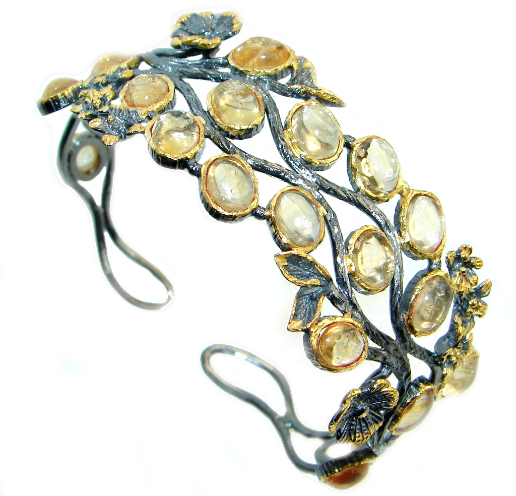 Chunky Genuine Citrine Gold Rhodium plated over Sterling Silver Bracelet / Cuff