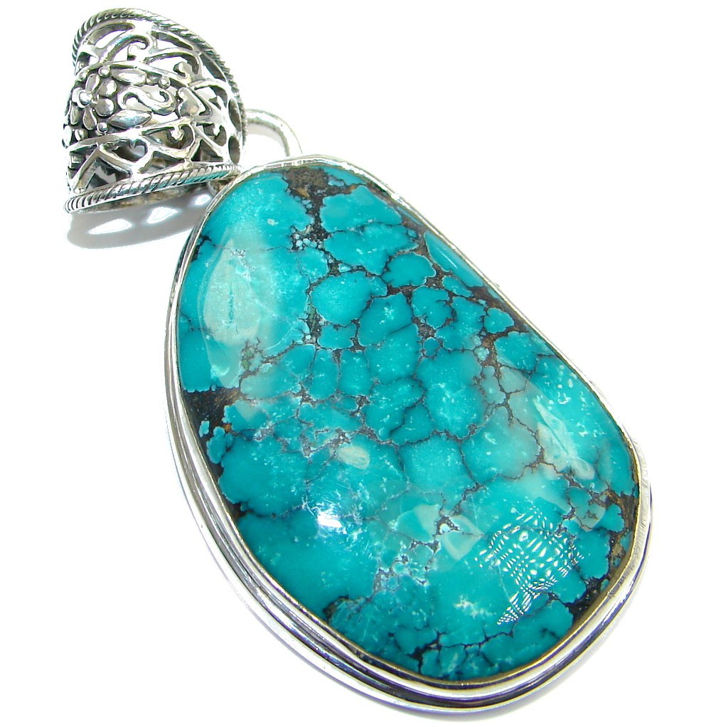 Large Genuine Turquoise Sterling Silver handmade Pendant