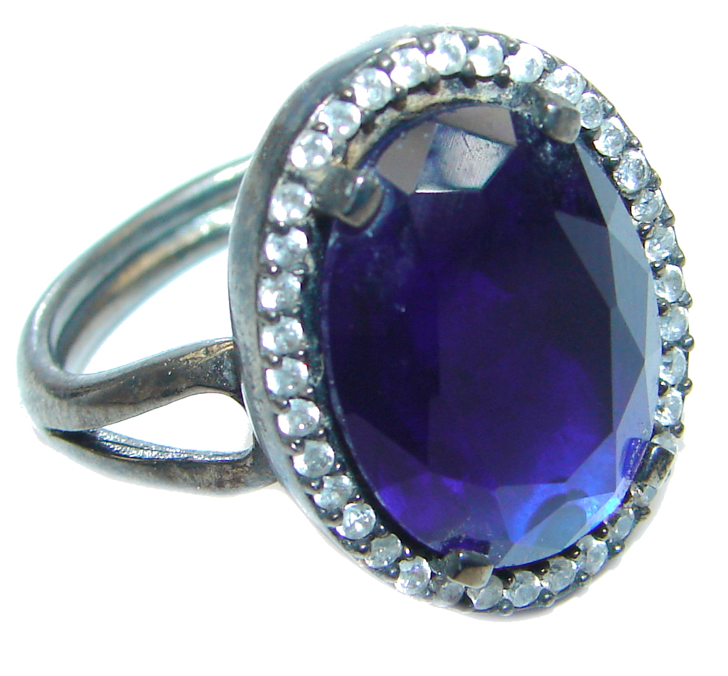 Created Blue Sapphire & White topaz Sterling Silver Ring s. 9