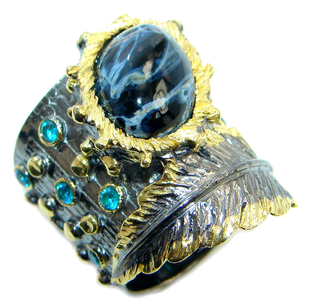 Simply Beautiful Black Pietersite Gold plated over Sterling Silver Ring size 5 3/4