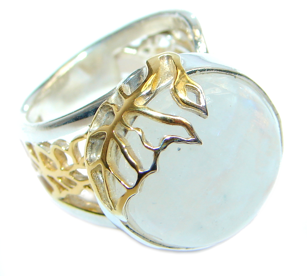 Fire Moonstone Gold plated over Sterling Silver handmade ring size adjustable