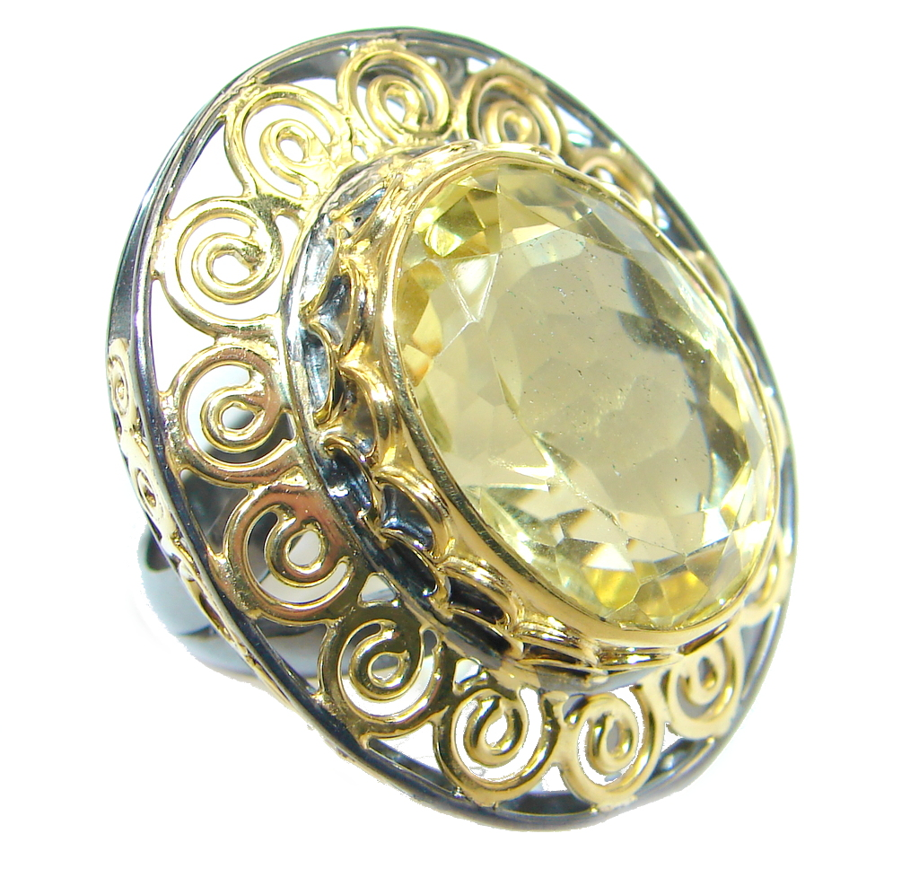 Large Citrine Gold plated over Sterling Silver ring size adjustable