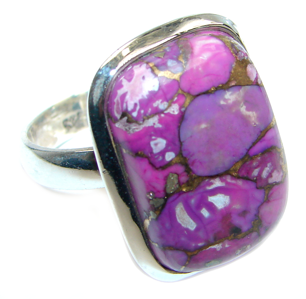 Beautiful Purple Turquoise Sterling Silver Ring size 9 1/4