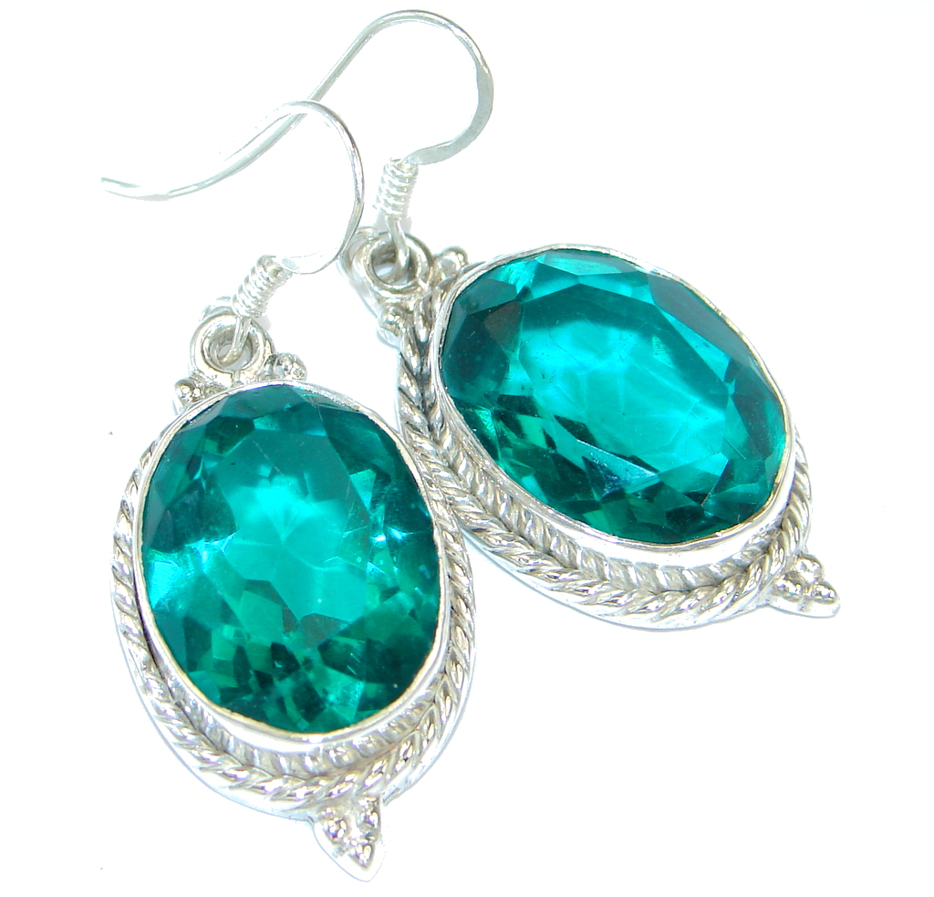 Chunky Created Emerald Sterling Silver hadmade earrings