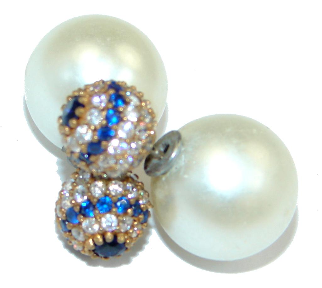 Fresh Water Pearl Sapphire Sterling Silver handcrafted stud earrings