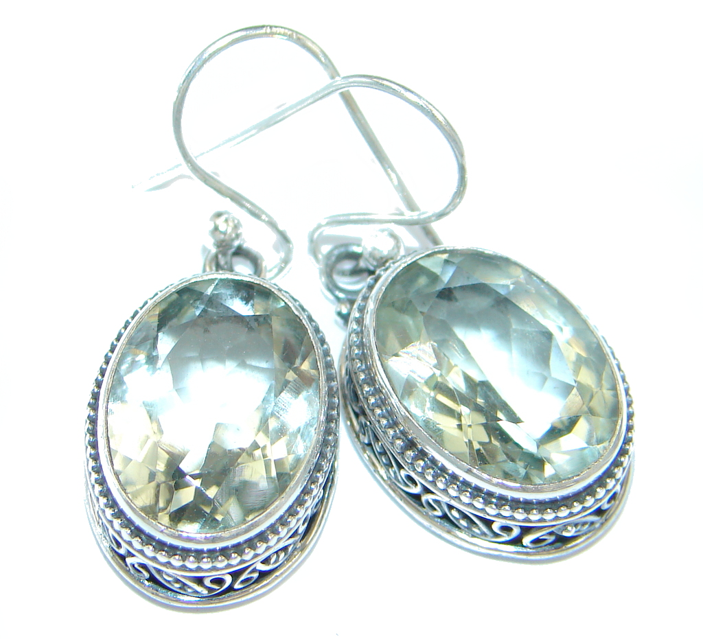 Amazing Green Amethyst Sterling Silver earrings