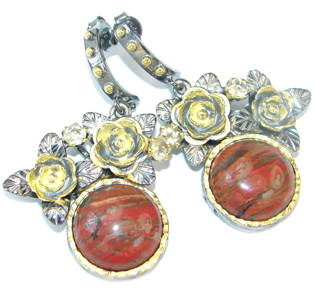 Red Creek Jasper Rose Rhodium plated over Sterling Silver handcrafted Earrings