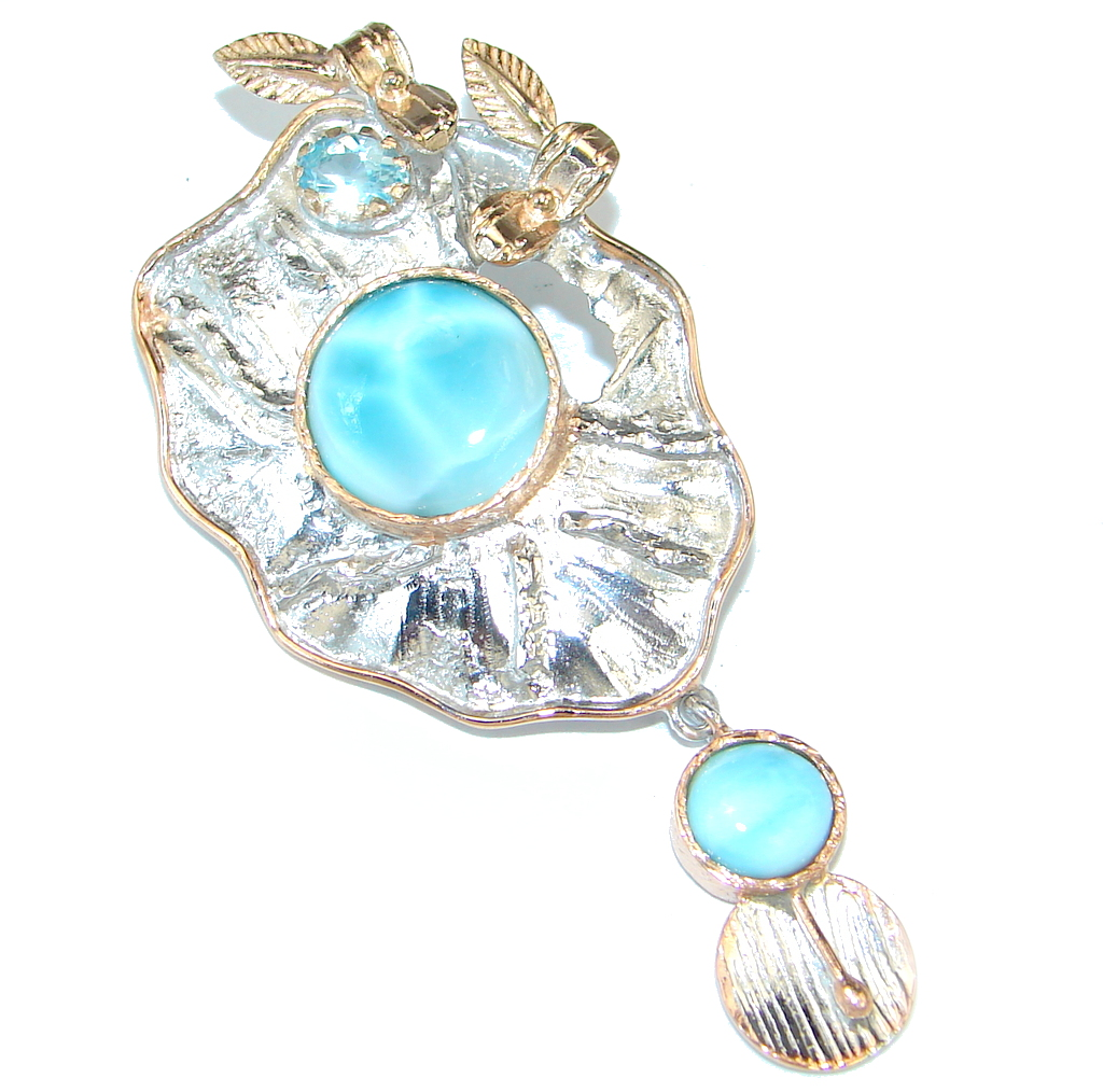 Larimar Rose  Rose Gold plated over Sterling Silver handmade Pendant