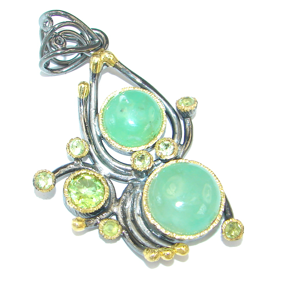 Natural Chrysophrase Peridot Gold Rhodium plated over Sterling Silver handmade Pendant