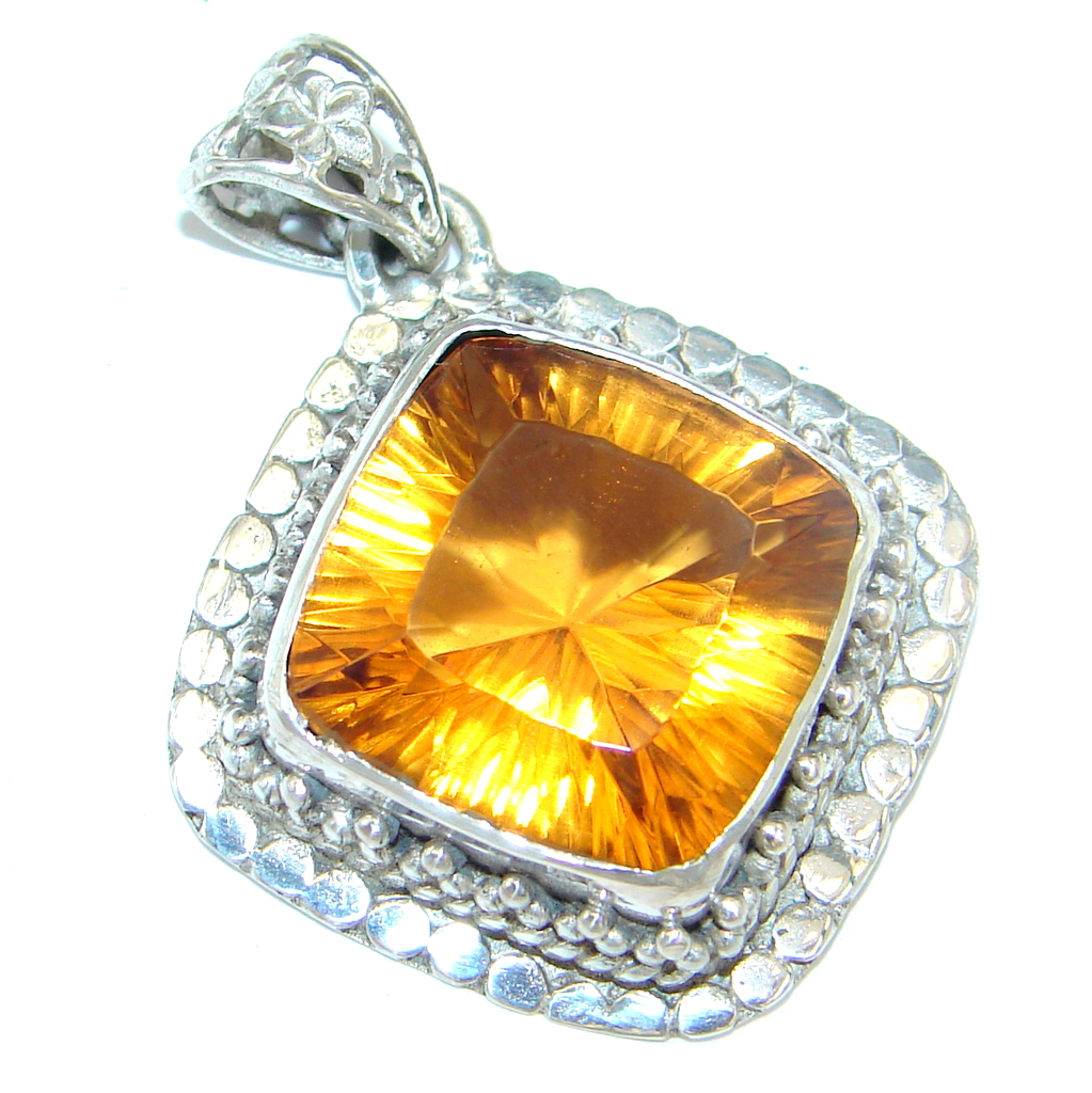 Amazing created Golden Topaz Sterling Silver handmade Pendant