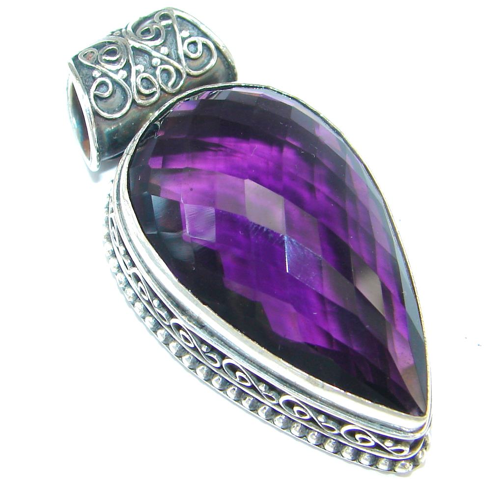 Amazing created Amethyst color Quartz Sterling Silver Pendant