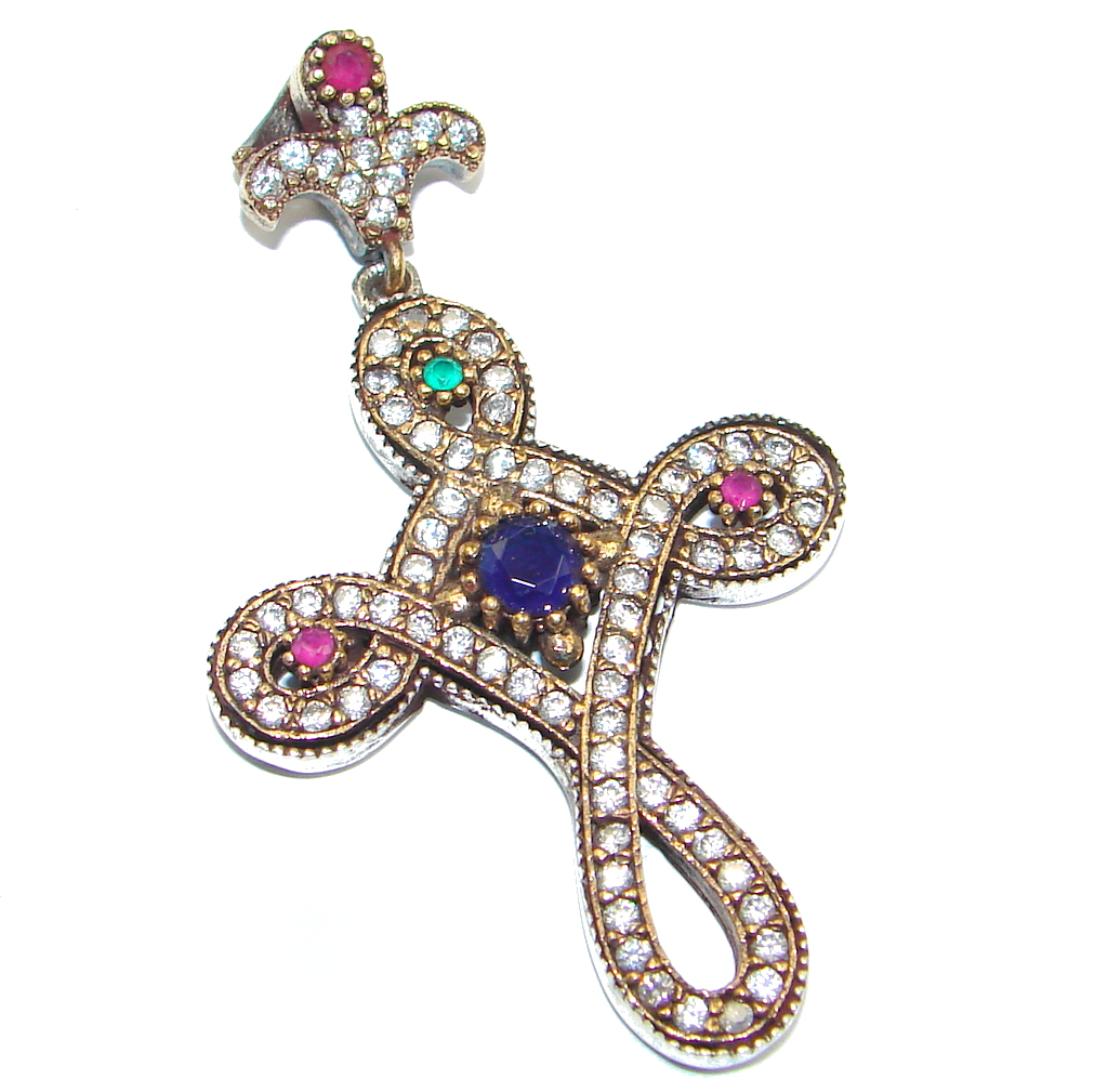 Victorian Style Pink Ruby Sterling Silver Pendant / Cross