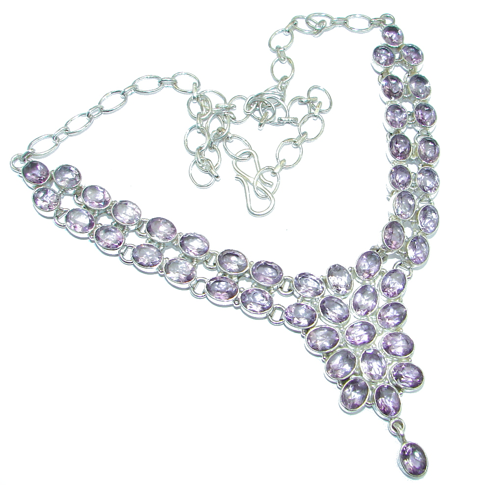 Amazing Genuine Amethyst Sterling Silver handmade Necklace