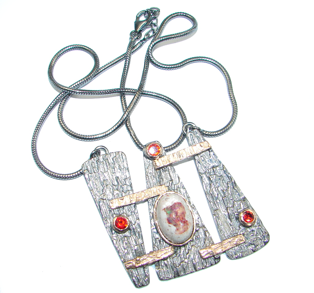Great Mexican Fire Opal Garnet Gold Rhodium plated over Sterling Silver handmade Necklace