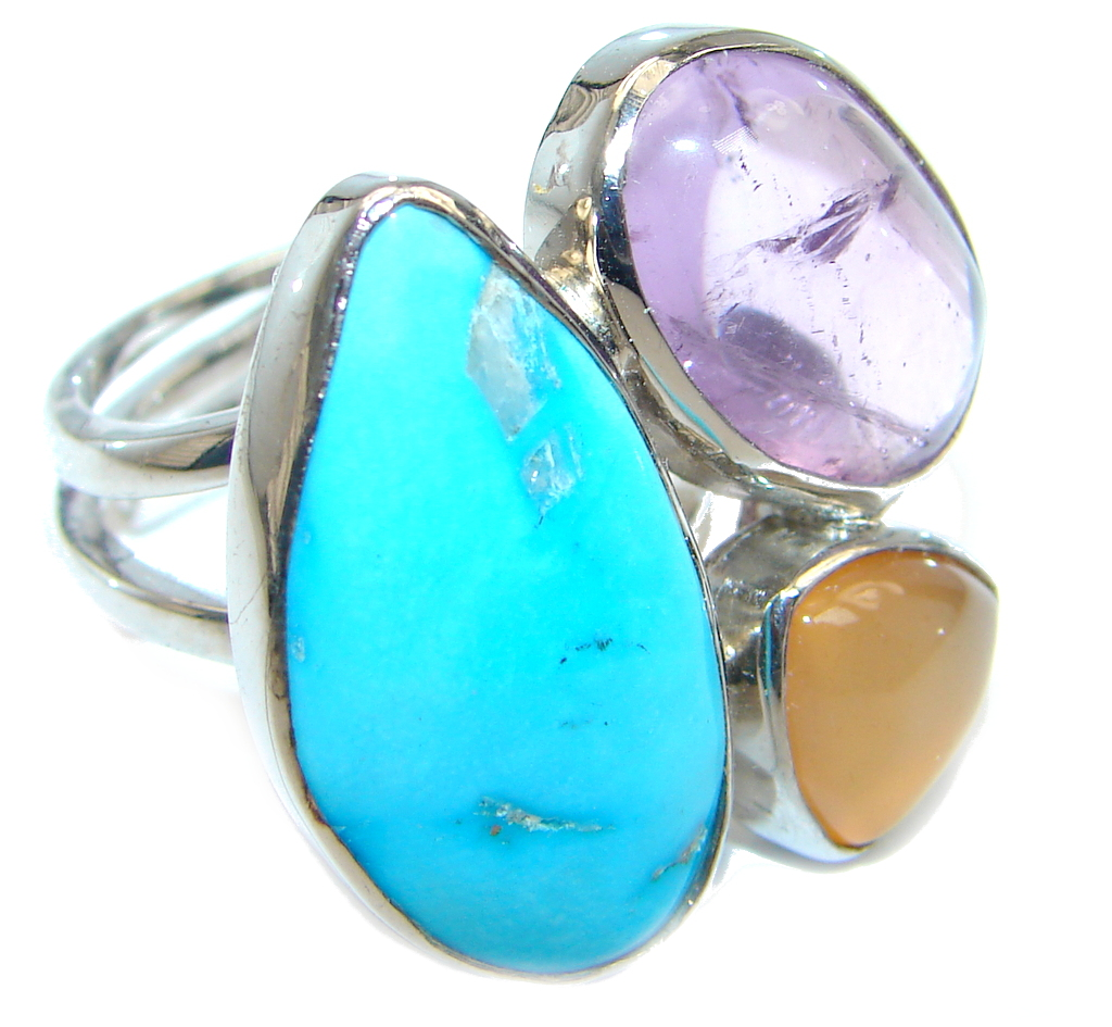 Sleeping Beauty Turquoise Sterling Silver Ring size adjustable