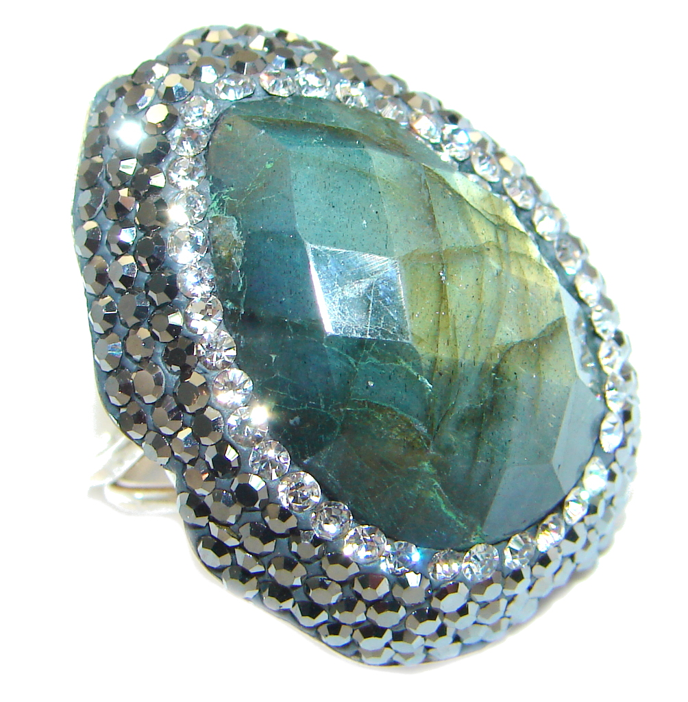 Blue Aura Fire Labradorite Spinel Sterling Silver ring size adjustable