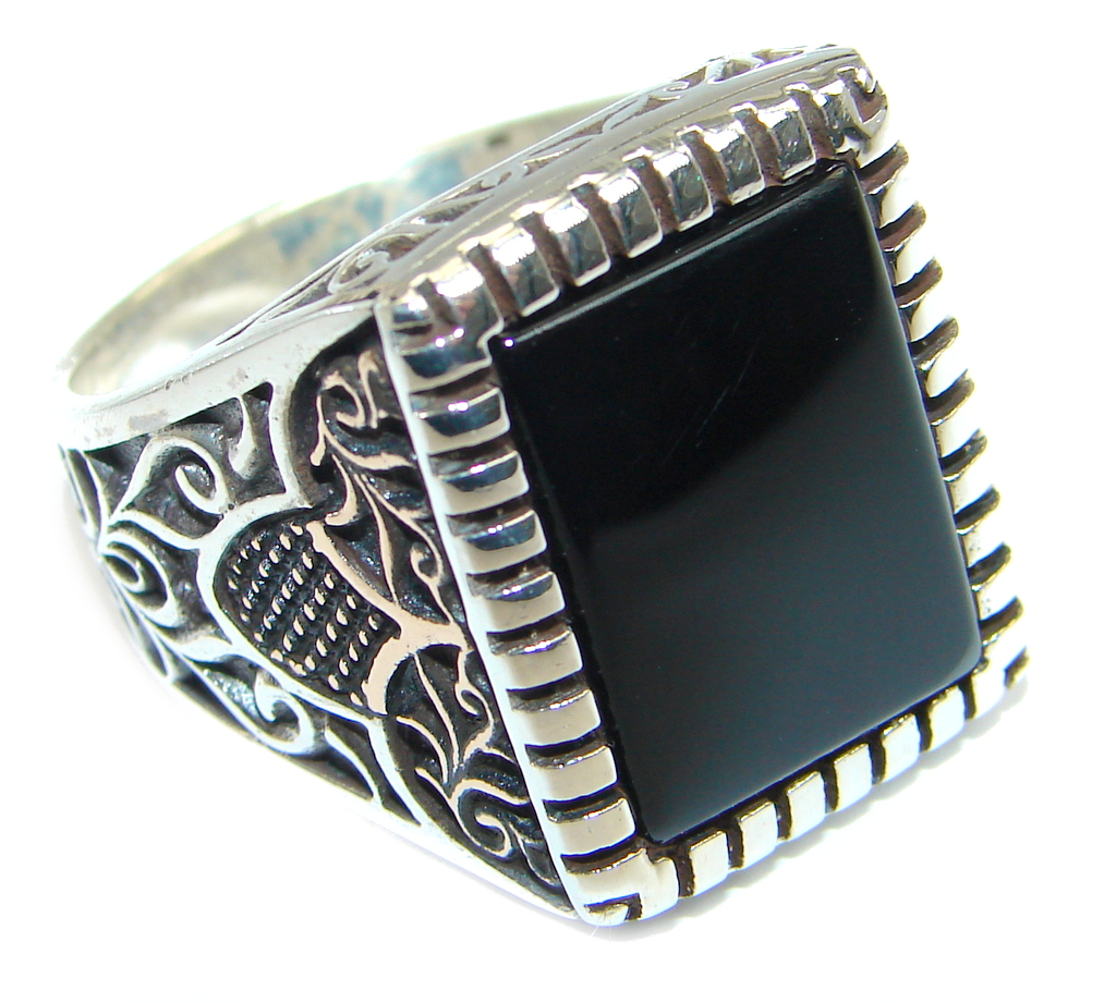 Classy Black Onyx Two Tones Sterling Silver ring size 11 1/4