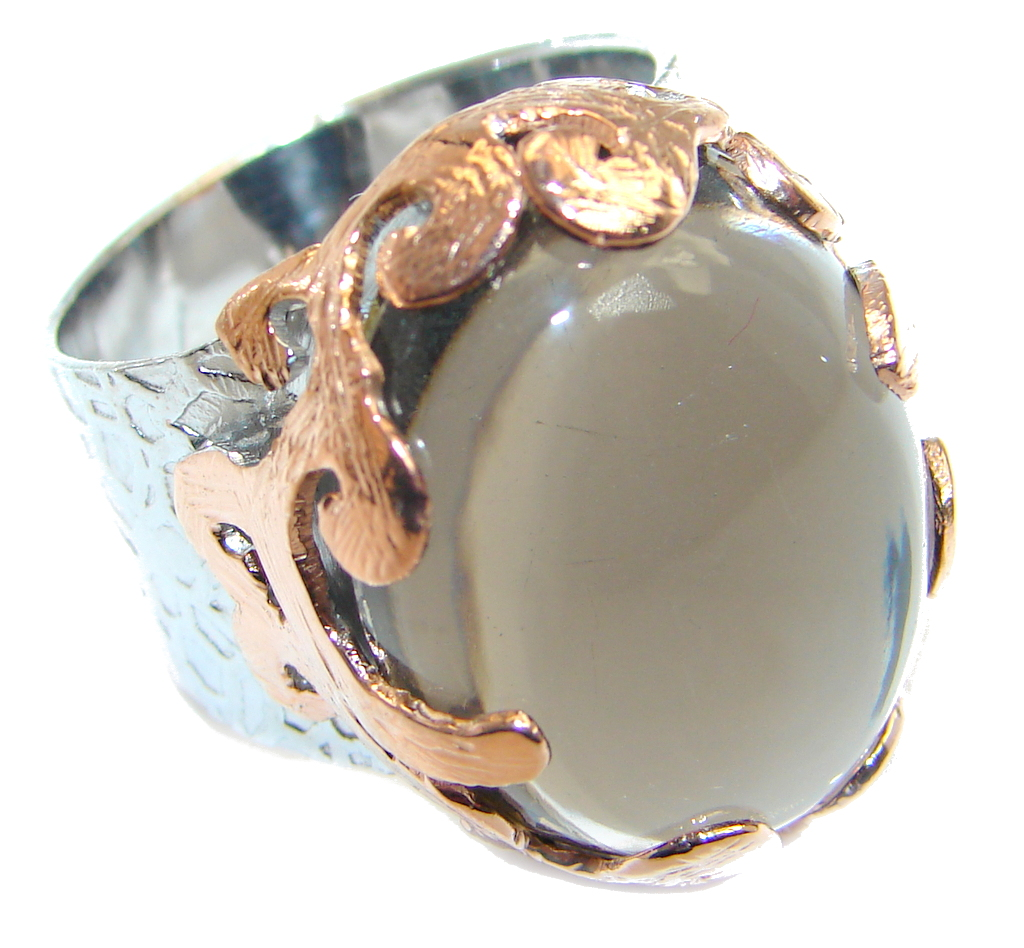 Beautiful Champagne Smoky Topaz Rose Gold Rhodium plated Sterling Silver Ring s. 8