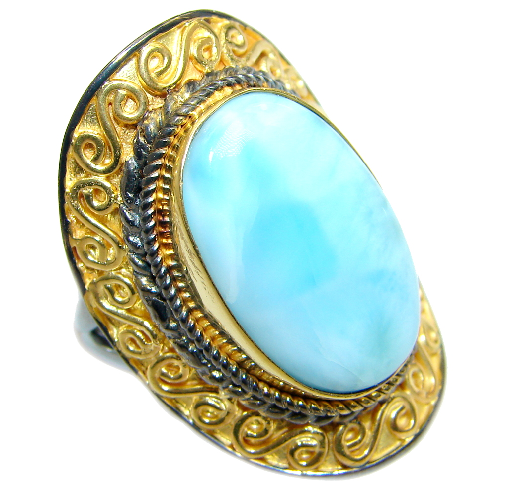 Genuine  Larimar Gold Rhodium plated Sterling Silver handmade Ring size adjustable