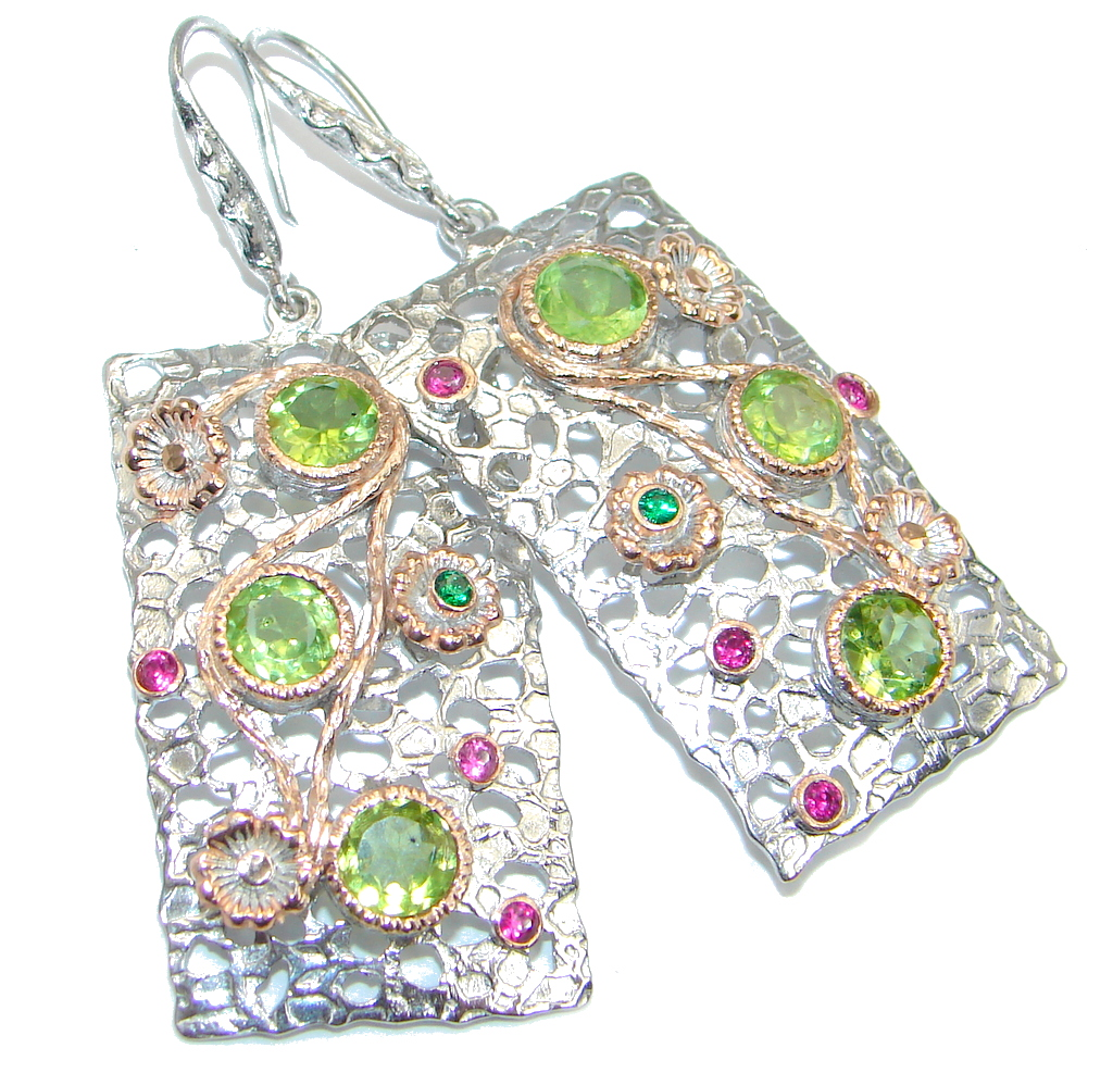 Big Genuine Peridot Garnet Sterling Silver handmade Earrings