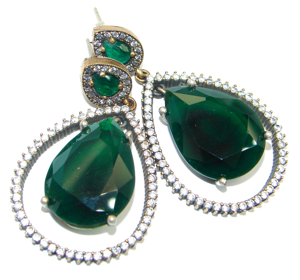 Large Victorian Style created Green Emerald Sterling Silver earrings
