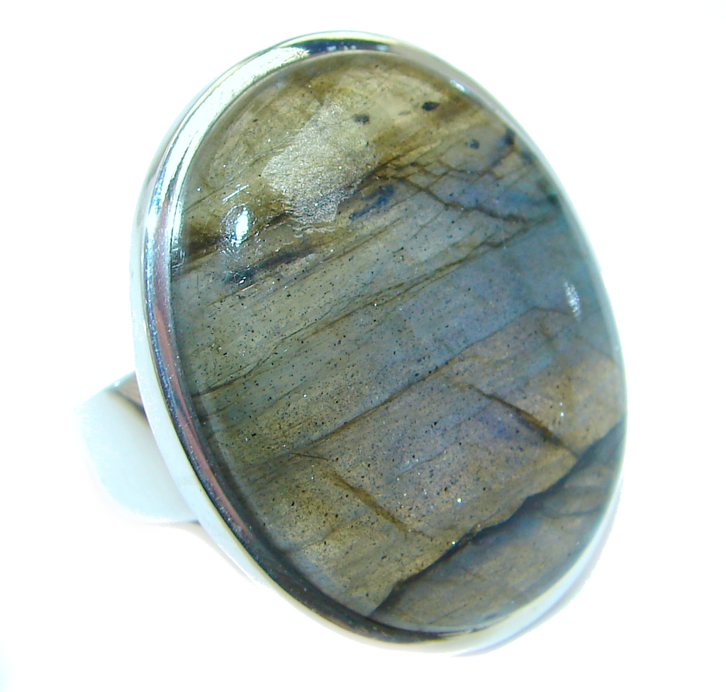 Blue Aura Fire Labradorite Sterling Silver ring size 8 1/2