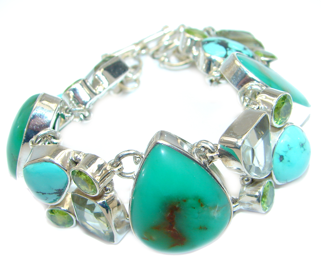 Chunky authentic Green Chrysoprase Peridot Sterling Silver Bracelet