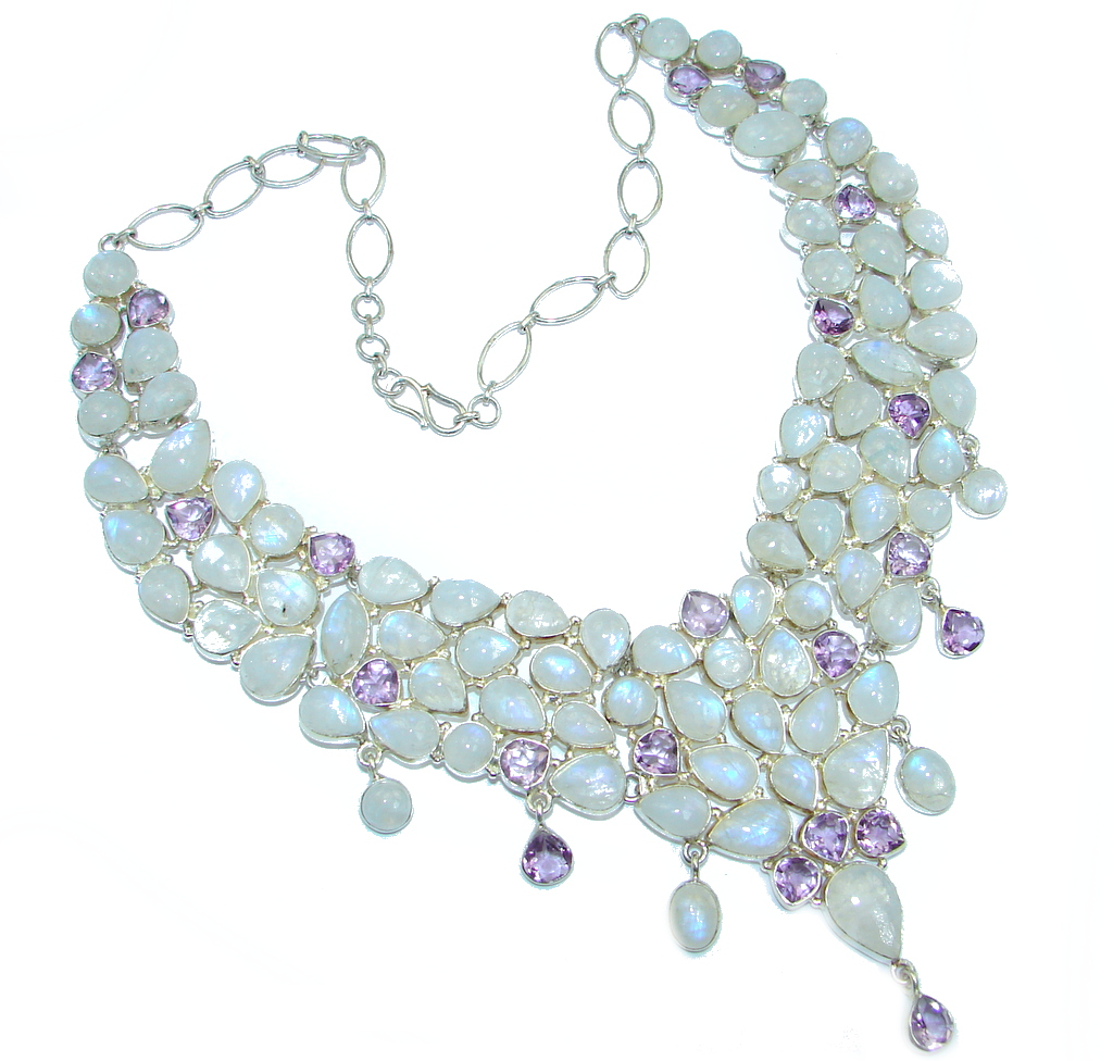 Heavenly White Fire Moonstone Amethyst Sterling Silver handcrafted necklace