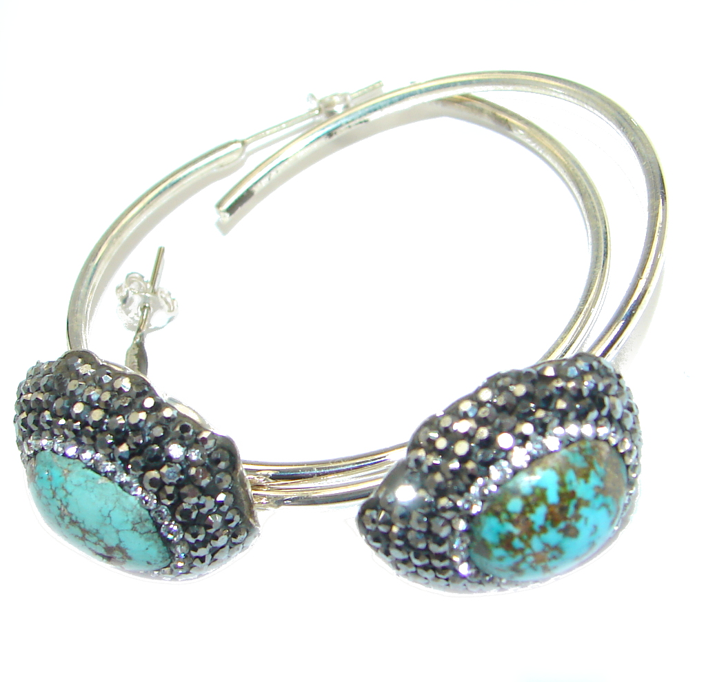 Genuine Beauty Turquoise Spinel Sterling Silver handcrafted Earrings