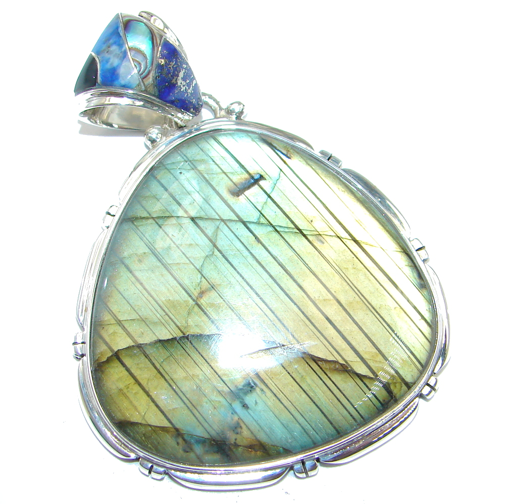 Northern Lights Labradorite Sterling Silver handmade Pendant