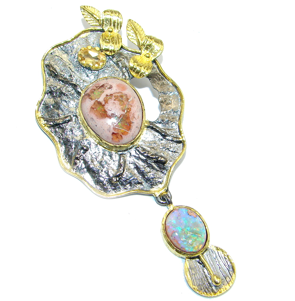 Ethiopian Opal Mexican Fire Opal Oxidized Gold plated Sterling Silver handmade Pendant
