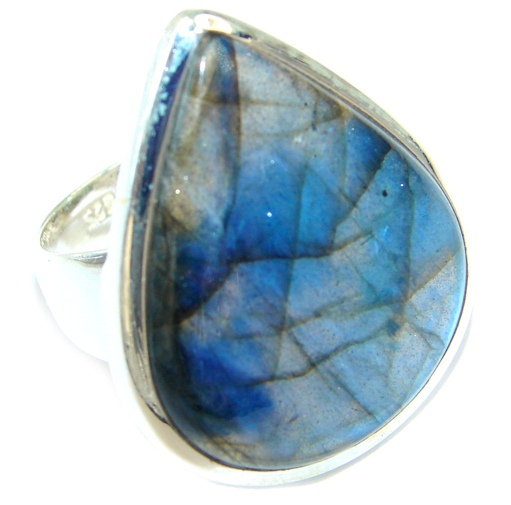 Fire Labradorite Sterling Silver handcrafted ring s. 7 1/2