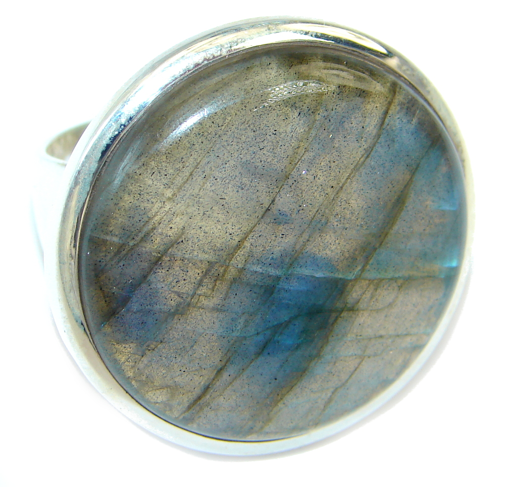 Fire Labradorite Sterling Silver handcrafted ring s. 7 3/4