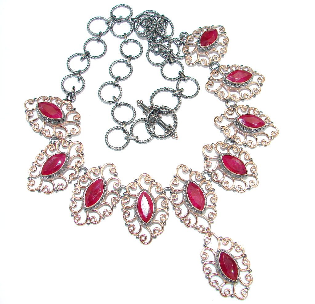 Elegant natural Ruby Rose Gold Rhodium over Sterling Silver handmade necklace