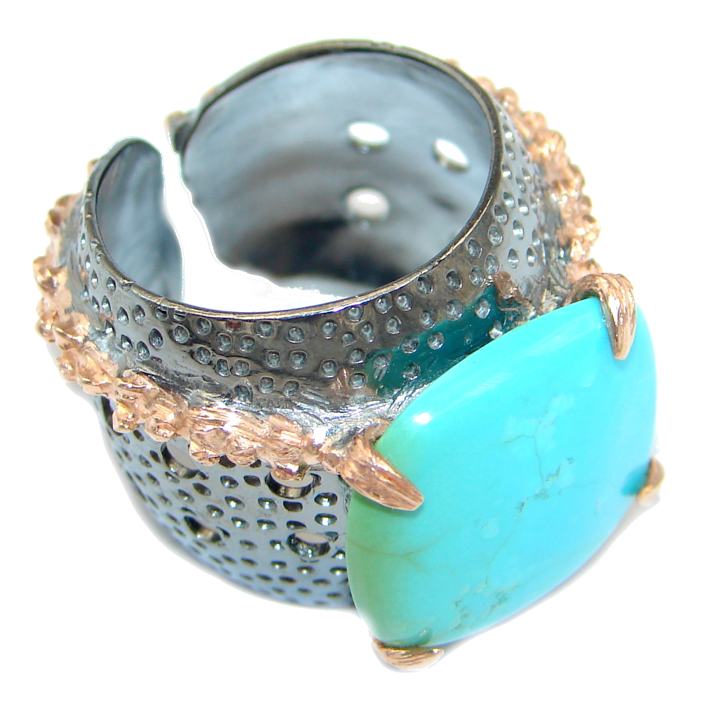 Sleeping Beauty Turquoise Rhodium Rose Gold Plated over Sterling Silver ring size adjustable