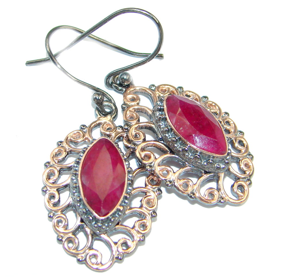 Victorian Style Red Ruby Rose Gold plated over Sterling Silver earrings